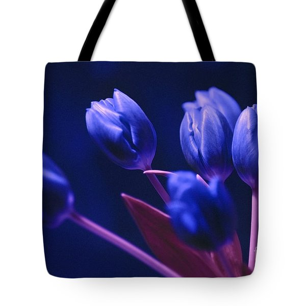 Tote Bag featuring the photograph Dark Blue Tulips by Silva Wischeropp