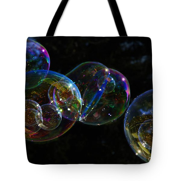 Tote Bag featuring the photograph Dark Bubbles With Babies by Nareeta Martin