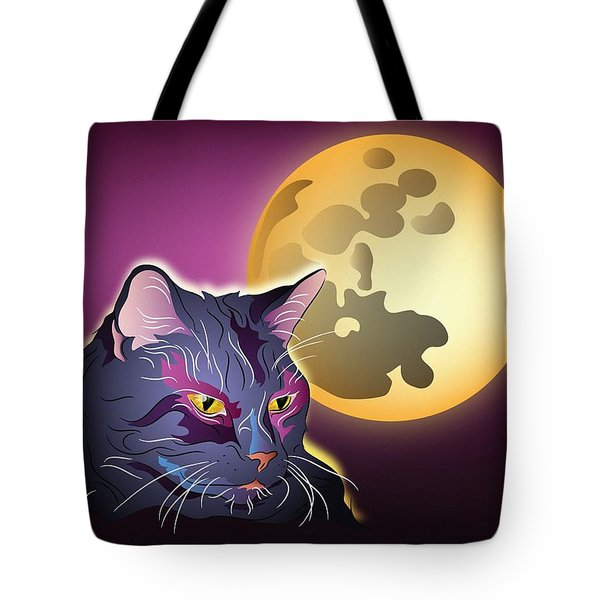 Tote Bag featuring the digital art Dark Cat And Full Moon by MM Anderson