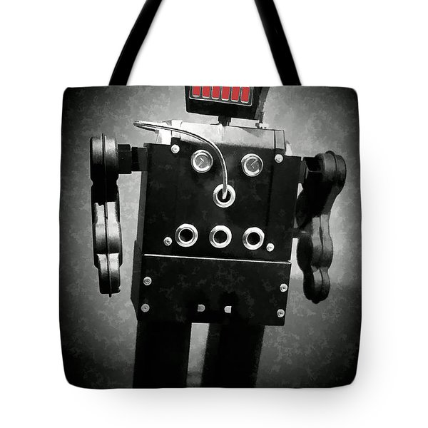 Dark Metal Robot Oil Tote Bag by Edward Fielding