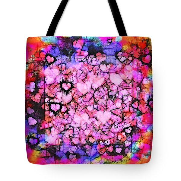 Moody Grunge Hearts Abstract Tote Bag