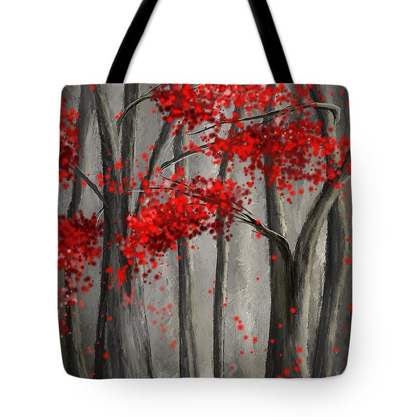Dark Passion- Red And Gray Art Tote Bag
