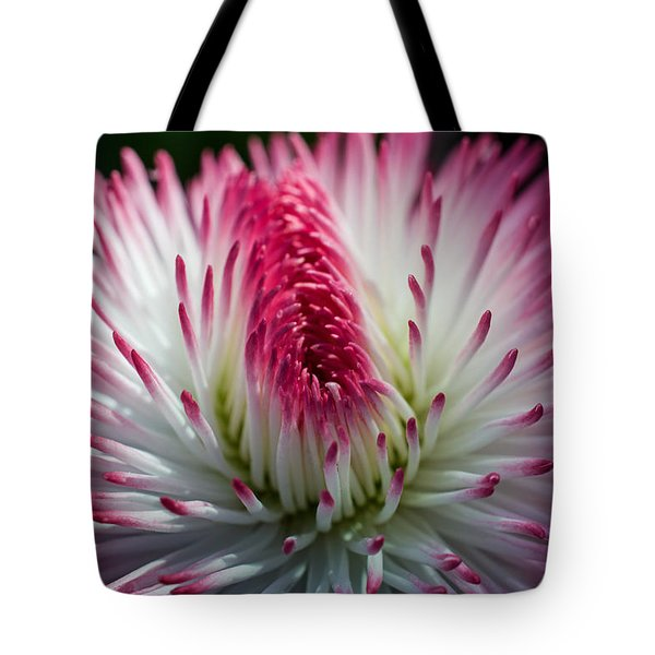 Dark Pink And White Spiky Petals Tote Bag