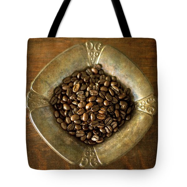Dark Roast Coffee Beans And Antique Silver Tote Bag
