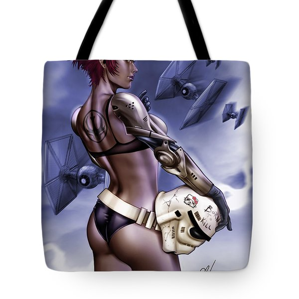 Tote Bag featuring the painting Dark Sided by Pete Tapang