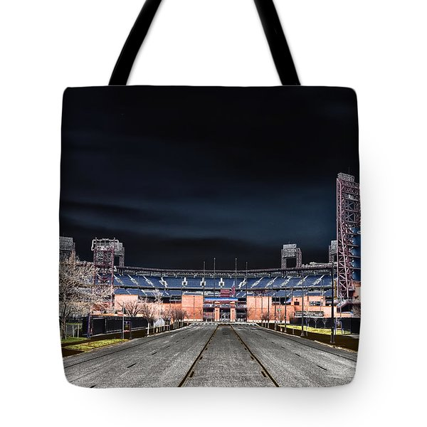 Dark Skies At Citizens Bank Park Tote Bag by Bill Cannon