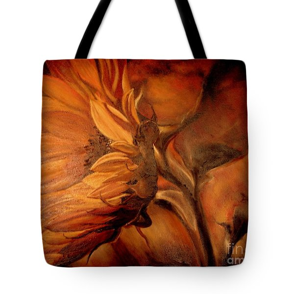 Tote Bag featuring the painting Dark Sunflower by Sorin Apostolescu