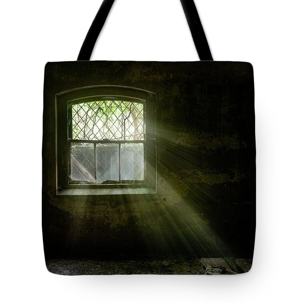 Tote Bag featuring the photograph Darkness Revealed - Basement Room Of An Abandoned Asylum by Gary Heller