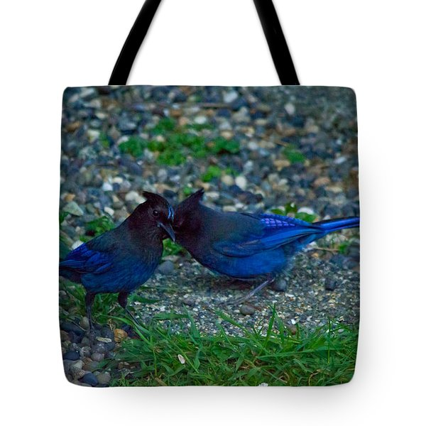 Darling I Have To Tell You A Secret-sweet Stellar Jay Couple Tote Bag by Eti Reid