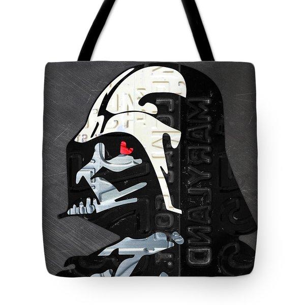 Darth Vader Helmet Star Wars Portrait Recycled License Plate Art Tote Bag