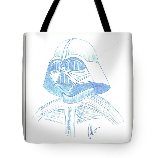 Tote Bag featuring the drawing Darth Vader Squared by Chris Thomas
