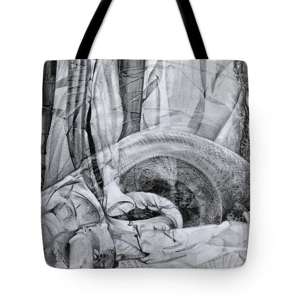 Tote Bag featuring the drawing Das Monster Hat Sich Im Ungebuegelten Hintergrund Versteckt by Otto Rapp