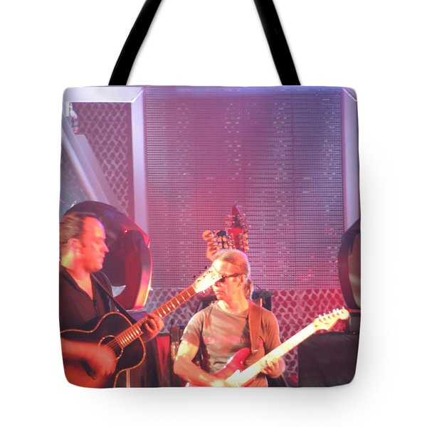 Tote Bag featuring the photograph Dave And Tim Jam On The Guitar by Aaron Martens