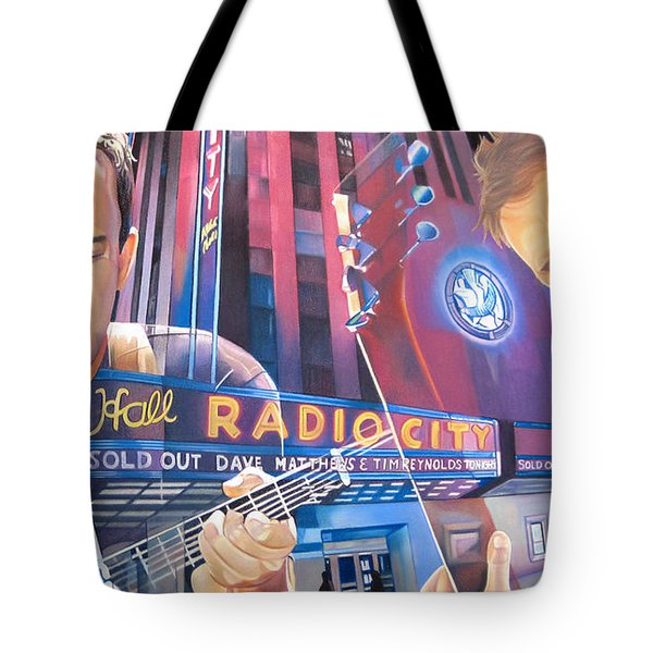 Dave Matthews And Tim Reynolds At Radio City Tote Bag by Joshua Morton