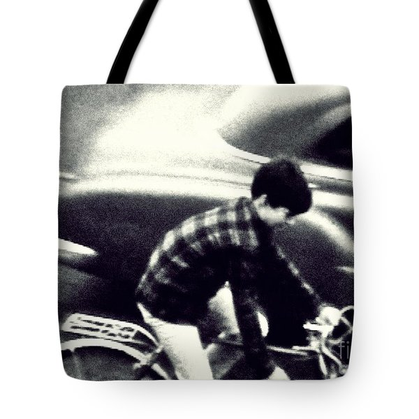 Dave On A Bike Tote Bag by Patricia Strand