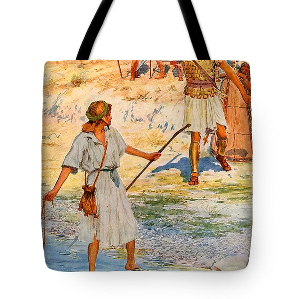 David And Goliath Tote Bag by William Henry Margetson