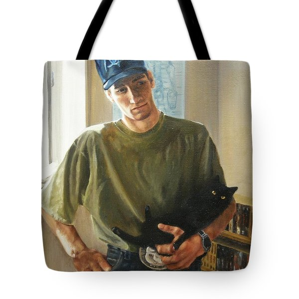Tote Bag featuring the painting David And Pulim by Lori Brackett