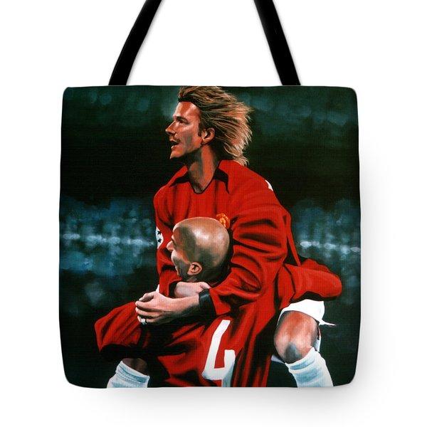 David Beckham And Juan Sebastian Veron Tote Bag by Paul Meijering