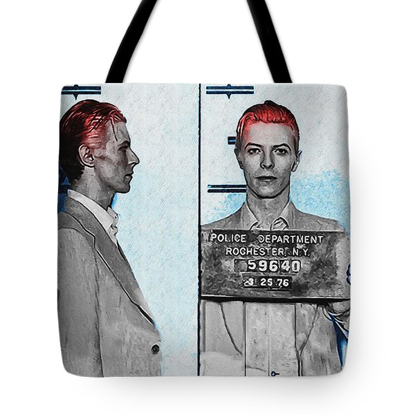 David Bowie Mug Shot Tote Bag