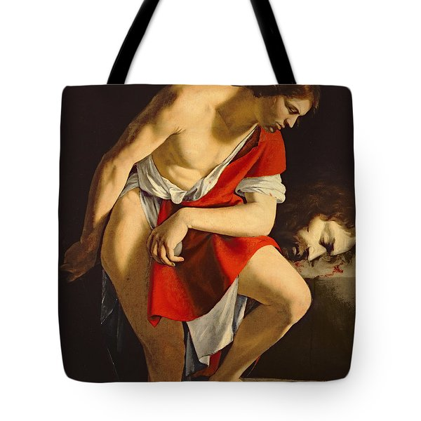 David Contemplating The Head Of Goliath Tote Bag by Orazio Gentileschi