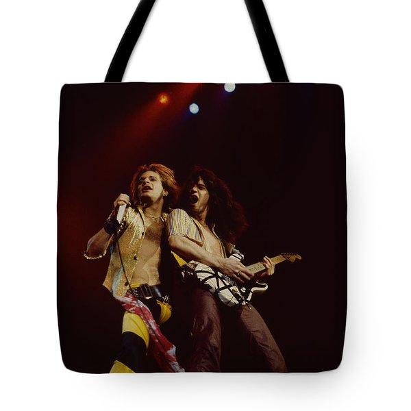 David Lee Roth And Eddie Van Halen - Van Halen- Oakland Coliseum 12-2-78   Tote Bag