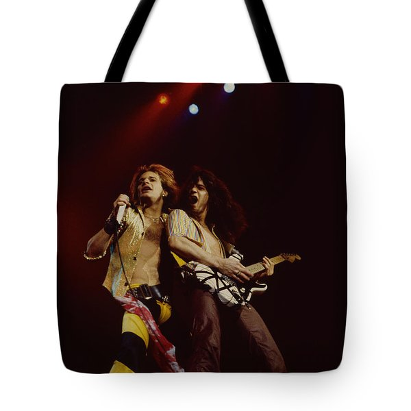 David Lee Roth And Eddie Van Halen - Van Halen- Oakland Coliseum 12-2-78   Tote Bag