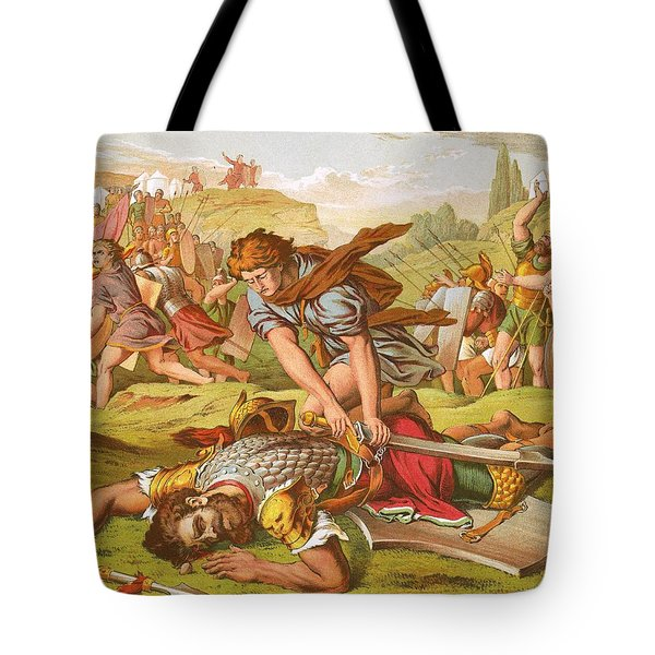 David Slaying The Giant Goliath Tote Bag by English School
