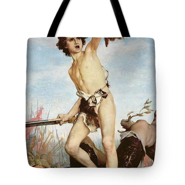 David Victorious Over Goliath Tote Bag by Gabriel Joseph Marie Augustin Ferrier