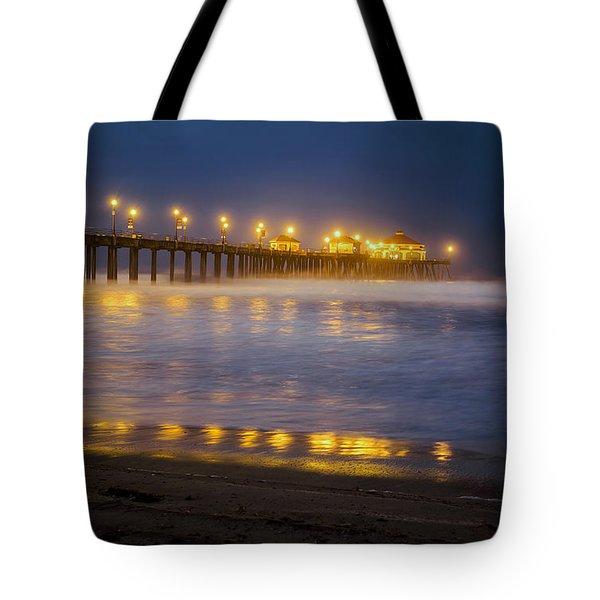 Dawn At Huntington Beach Pier By Denise Dube Tote Bag