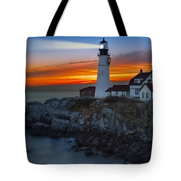 Dawn At Portalnd Head Light Tote Bag