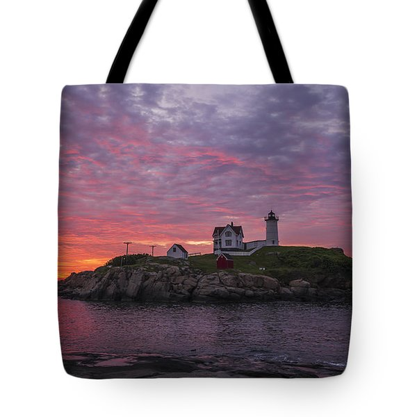Dawn At The Nubble Tote Bag by Steven Ralser