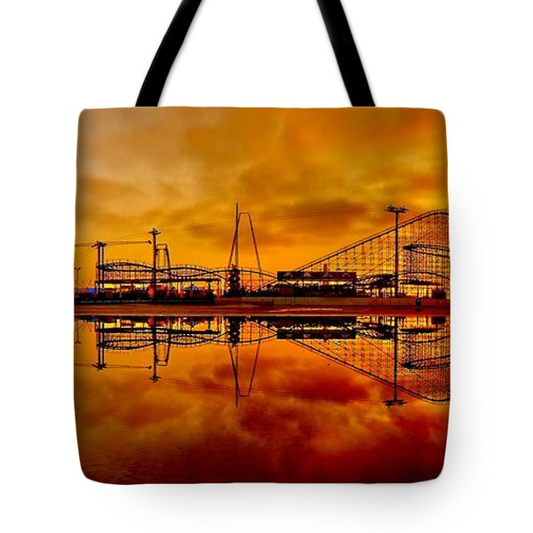 Dawn At Wildwood Pier Tote Bag by Nick Zelinsky