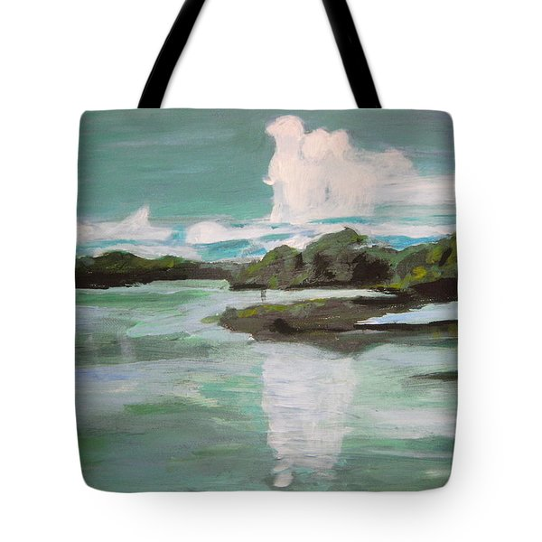 Tote Bag featuring the painting Dawn Breaks On Jong River Mattru Sierra Leone by Mudiama Kammoh