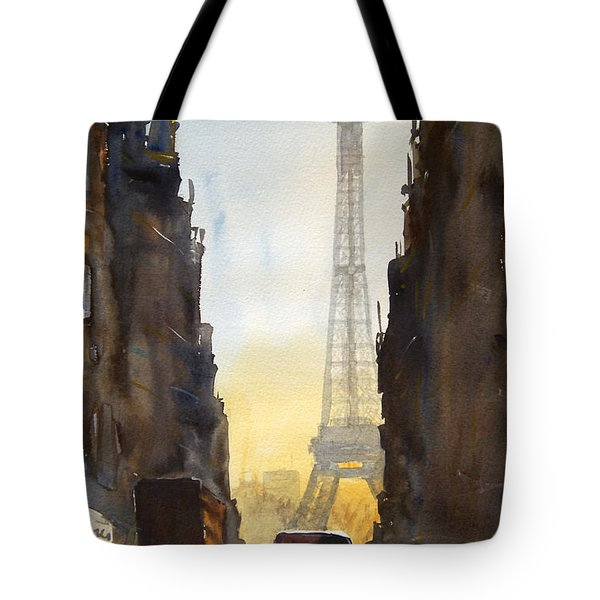 Dawn In Paris Tote Bag by James Nyika