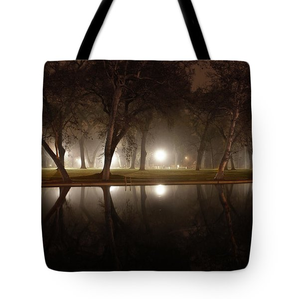 Dawn Mist Rising At Sycamore Pool  Tote Bag
