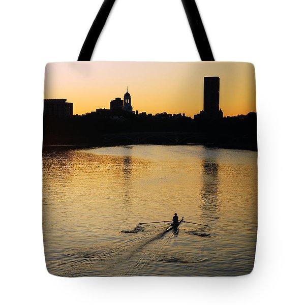 Dawn On The Charles Tote Bag by James Kirkikis
