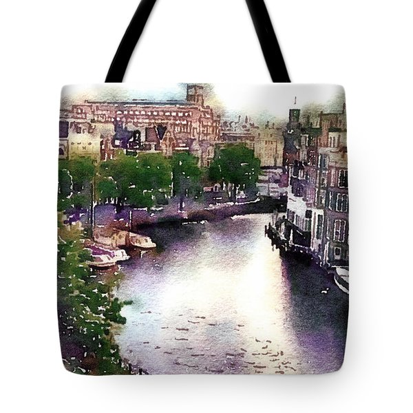 Tote Bag featuring the photograph Dawn Rain Amsterdam by Susan Maxwell Schmidt