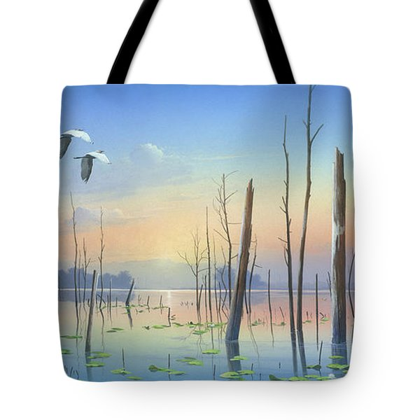 Tote Bag featuring the painting Dawns Early Light by Mike Brown