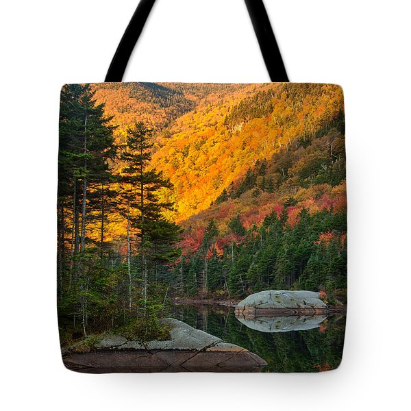 Tote Bag featuring the photograph Dawns Foliage Reflection by Jeff Folger