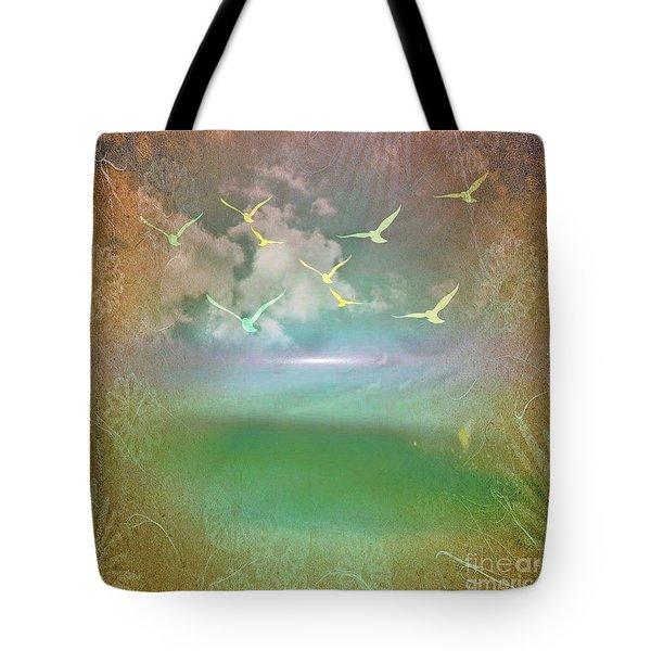 Day At The Beach Abstract Tote Bag by Judy Palkimas
