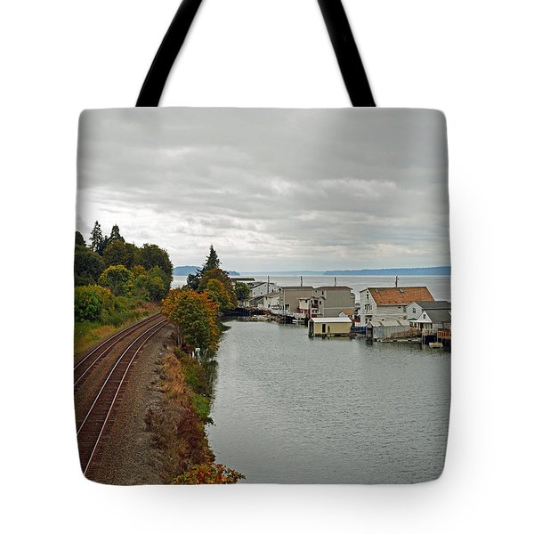 Day Island Bridge View 3 Tote Bag