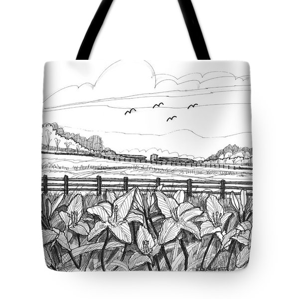 Tote Bag featuring the drawing Day Lilies At Northwind Farms by Richard Wambach