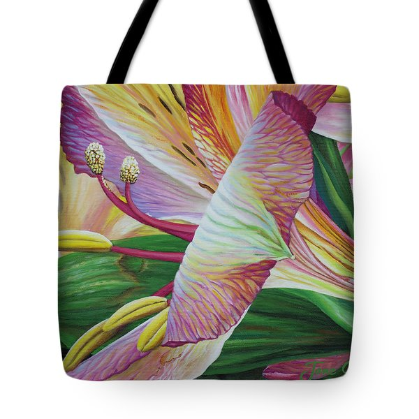 Tote Bag featuring the painting Day Lilies by Jane Girardot