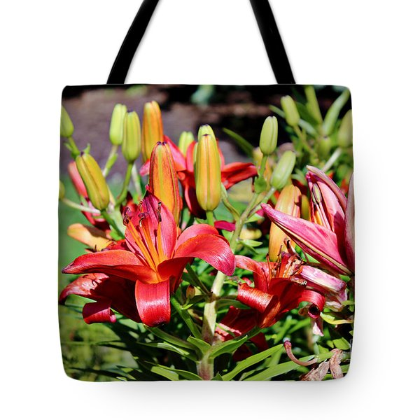Day Lillies In The Garden Tote Bag