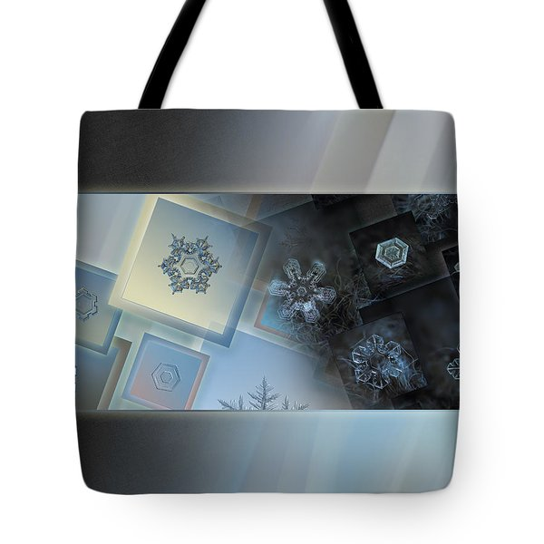 Tote Bag featuring the photograph Snowflake Collage - Daybreak by Alexey Kljatov