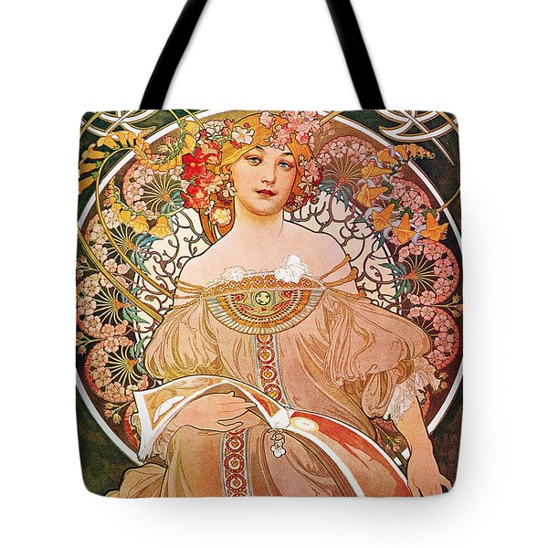Tote Bag featuring the painting Daydream by Alphonse Mucha