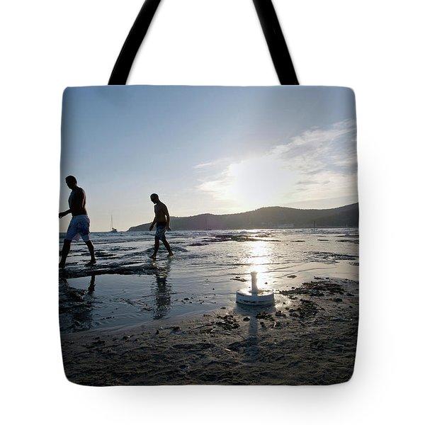 Daylife In Salinas Beach. Named Tote Bag