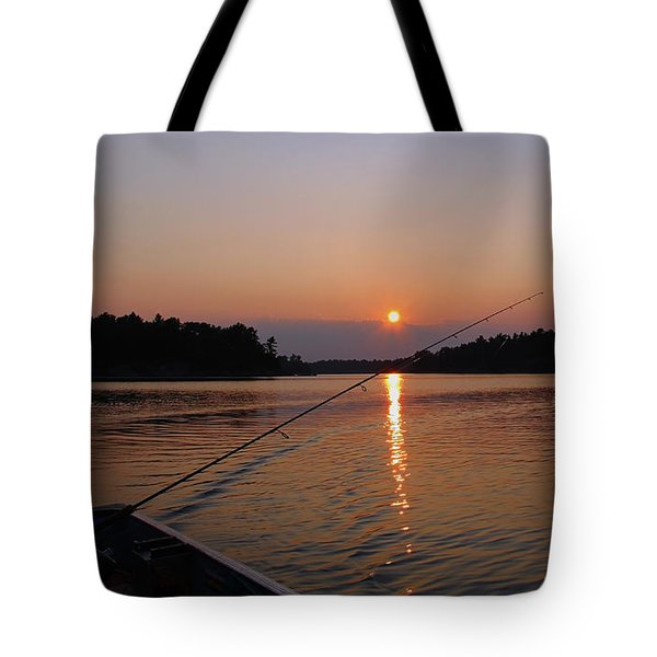 Tote Bag featuring the photograph Sunset Fishing by Debbie Oppermann