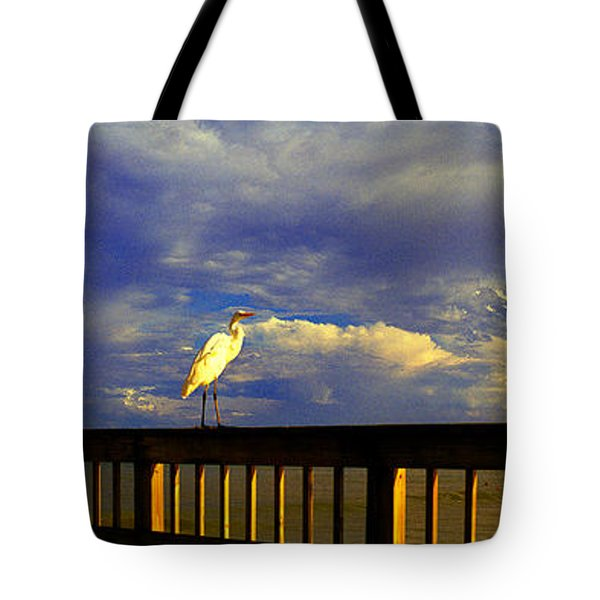 Daytona Beach Fl Bird Sun Glow Pier  Tote Bag