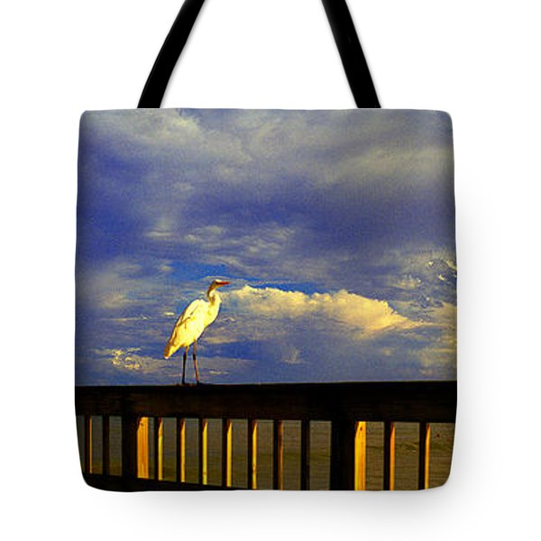 Daytona Beach Rail Bird Sun Glow Pier  Tote Bag